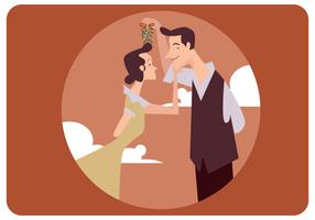 Classic Couple Under Mistletoe Vector