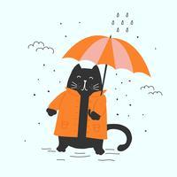 Cat in Autumn Vector