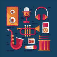 Musical instrument knolling vector