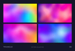 Triangle vector mosaic backgrounds set,