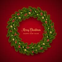 Christmas fir realistic holiday design vector