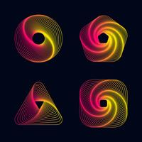 Gradient line spiral designs elements