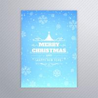 Vacker glatt julgran kort broschyr design vektor