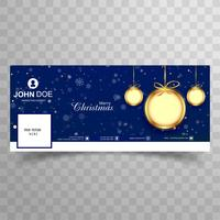 Beautiful merry christmas ball facebook cover banner template