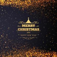 Beautiful glitters Merry christmas card design
