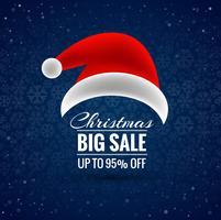 Merry christmas santa hat big sale background vector