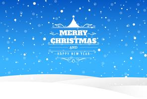 Merry christmas card with landscape blue background