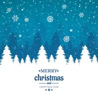 Merry christmas card with winter tree shiny glitters background