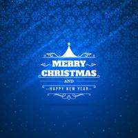 Merry christmas card celebration with snowflake blue background