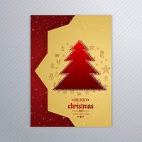 Beautiful merry christmas tree card brochure design vector