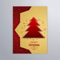 Beautiful merry christmas tree card brochure design vector