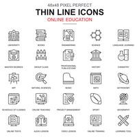 Dünne Linie Online-Bildung, E-Learning, E-Book-Icons Set