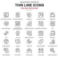Thin line healthcare and medicine, medical equipment icons