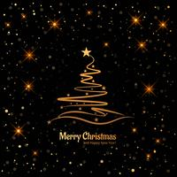 Merry christmas card with decorative tree shiny glitters backgro