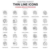 Thin line human brain process, features icons set