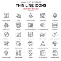 Thin line design tools, art and media icons set