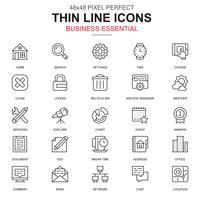 Dunne lijn zakelijke essentieel, communicatie en office-pictogrammen instellen