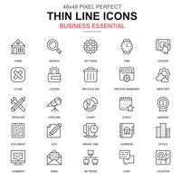 Thin line business essential, communication and office icons set