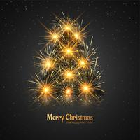 Merry Christmas shiny tree celebration greeting card design vect