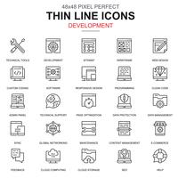 Thin line web design and development icons set