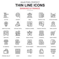 Thin line banking and finance icons set
