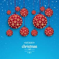 Merry christmas card decorative ball with snowflake design