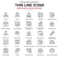 Línea fina de salud y medicina, conjunto de iconos de servicios