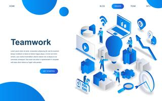 Modern isometric design concept of Teamwork