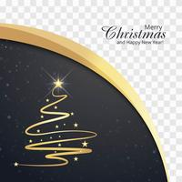 Beautiful merry christmas card with wave background vector