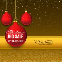 Merry christmas ball big sale background vector