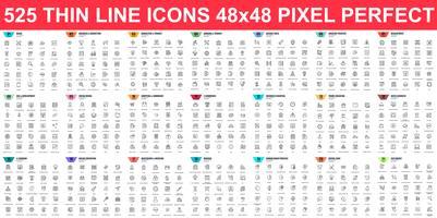 Enkel uppsättning vektor tunna linje ikoner