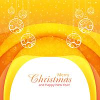 Elegant merry christmas decorative with ball background wave vec