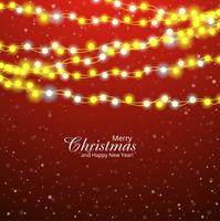 Merry christmas card decorative with colorful light bulb backgro