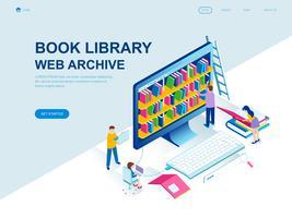 Modern plandesign isometrisk koncept för bokbiblioteket
