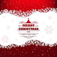 Hermosa tarjeta de feliz navidad con fondo de copo de nieve vector