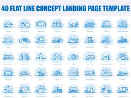 Set of flat line design Landing page templates
