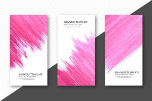Modern watercolor banners set design vector