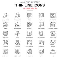 Thin line internet marketing and social network icons set