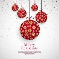 Elegant merry christmas snowflake balls background