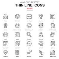 Thin line basic icons set