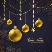 Merry christmas shiny golden balls dark background vector