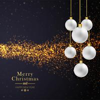 Beautiful merry christmas glitters with balls background vector