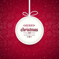 Merry christmas ball with snowflake background vector