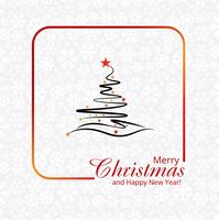 Beautiful merry christmas creative tree with snowflake card desi
