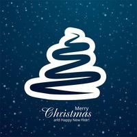 Joyeux Noël carte bleu arbre design vecteur