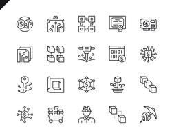 Simple Set of Cryptocurrency Related Vector Line Icons