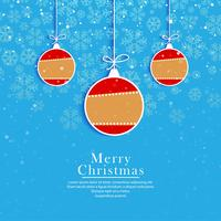 Merry christmas balls blue card design vector
