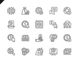 Semplice set di icone di linea di vettore relative denaro