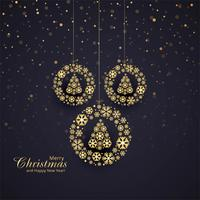 Beautiful merry christmas ball with tree card background