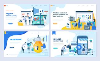 Set of flat line design Landing page templates